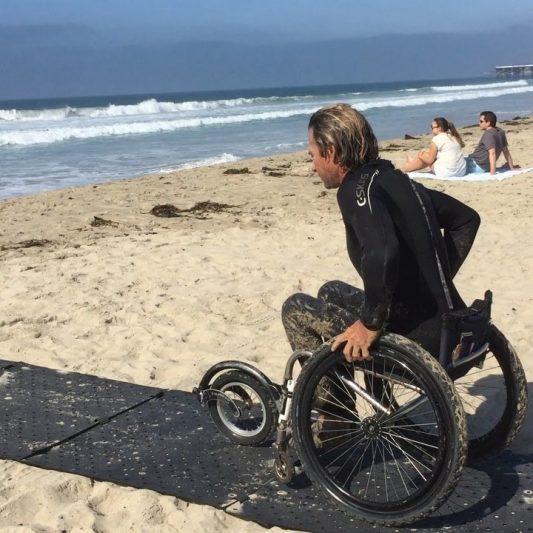 Traversing the Beach with Sand Trekking Mat