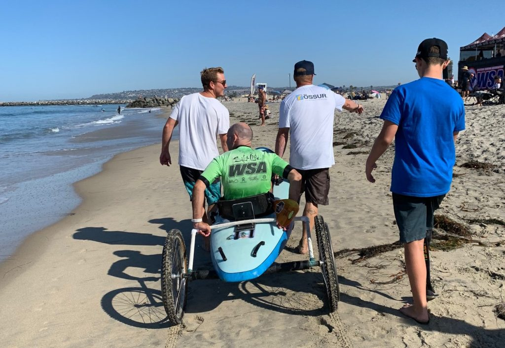 Adaptive surfer Spike Kane comes in from a surf heat on his waveski.