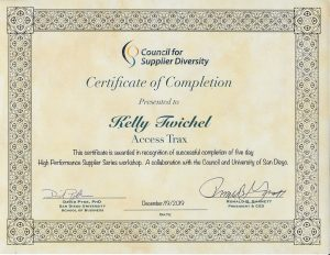 Certificate of Completion for High Performance Supplier Workshop Series